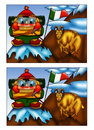 Game color illustration of a where you have to find the five differences between the two designs Stock Images