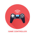 Game controller flat style icon. Wireless technology, video game device sign. Vector illustration of communication