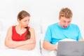 Game dependence man men irritates his wife Stock Image