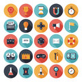 Game design flat icons set modern vector collection with long shadow effect in stylish colors of different elements on and Royalty Free Stock Photography