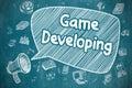 Game Developing - Doodle Illustration on Blue Chalkboard.