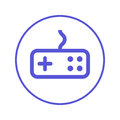 Game, gamepad circular line icon. Round sign. Flat style vector symbol.