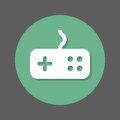 Game, gamepad flat icon. Round colorful button, circular vector sign with shadow effect. Flat style design.