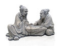 Game go statue of two chiness playing Royalty Free Stock Image