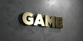 Game - Gold sign mounted on glossy marble wall - 3D rendered royalty free stock illustration Royalty Free Stock Photo