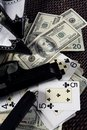 Game guns and dollars, clasic mafia gangster still Stock Image