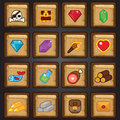 Game icon set, game flat icon, resources, loot