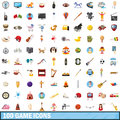 100 game icons set, cartoon style