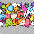 Game kawaii seamless pattern. Cute gaming design elements, objects and symbols
