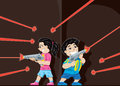 Game of laser tag cartoon kids playing Royalty Free Stock Image