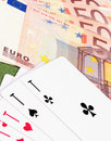 Game for money cards and as a symbol of gambling in casino details Stock Photography