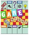 Game Night Invitation Monopoly Style with Scrabble and Dice Royalty Free Stock Photo