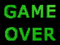 Game over green text made of glossy cubes isolated on black background d illustration Royalty Free Stock Images