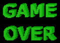 Game over green text made of glossy cubes isolated on black background d illustration Stock Image