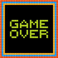 Game over message written in pixel blocks assets are on separate layers Stock Images
