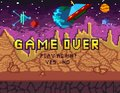 Game over pixel art design with space background and hearts. Pix