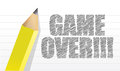 Game over written on a notepad paper Royalty Free Stock Photo