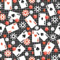 Game seamless pattern with cards, poker chips, dice on original dark background.