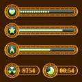 Game steampunk energy time progress bar icons set Royalty Free Stock Photo