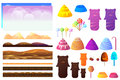 Game sweets pieces, candyland Elements. Vector collection For Video Game Royalty Free Stock Photo