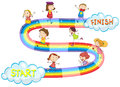 Game template with many kids on rainbow