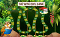Game template with owl reading book in jungle