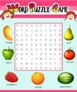 Game template for word puzzle with fruits Royalty Free Stock Photo
