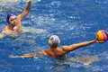 Game time in match on water polo moscow apr of olympic sports complex april moscow russia Stock Photography