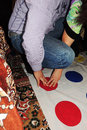 The game twister a pleasant pastime background Stock Photo