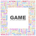 Game word cloud illustration tag cloud concept collage Stock Photo