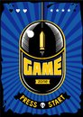 Game zone vintage poster. Computer video games retro illustration. Gaming vector background with mouse and bullet Royalty Free Stock Photo