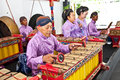 Gamelan orchestra in ratu boko palace yogyakarta indonesia there are two tuning systems javanese music slendro and Royalty Free Stock Images