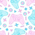 Gamepad joystick game controller seamless pattern. Devices for video games, esports, gamer on white background. Hand Royalty Free Stock Photo