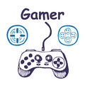 Gamepad and multiply icons Royalty Free Stock Photography