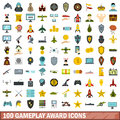 100 gameplay award icons set, flat style