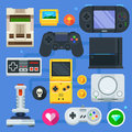 The gamer icon set computer or mobile game game console joystick and different devices vector flat Stock Photo