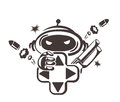 Gamer vector icon associated with a variety of games Royalty Free Stock Photography