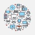 Gamers round flat illustration