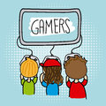Gamers sketch Royalty Free Stock Photo