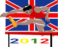 Games 2012 Track and Field Hurdles British Flag Stock Photography