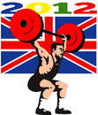 Games 2012 Weightlifting Retro British Flag Stock Image