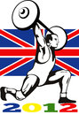 Games 2012 Weightlifting Retro British Flag Royalty Free Stock Photo