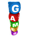 Games colorful word made of little toy word blocks white background sports and concept Stock Photos