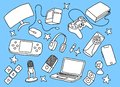 stock image of  Games doodle art with blue background and hand sketch style