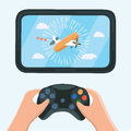 Gaming concept. Man holding in hands gamepad and playing in race videogame. Vector flat illustration.