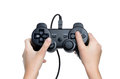Gaming controller child holding isolated white background Royalty Free Stock Images