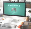 Gaming entertainment fun hobby digital technology concept Stock Photography
