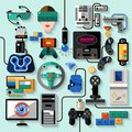Gaming gadgets set computer play technologies icons isolated vector illustration Stock Photo