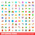 100 gaming icons set, cartoon style