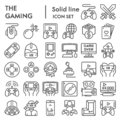 Gaming line icon set, video games symbols collection, vector sketches, logo illustrations, gaming devices signs linear